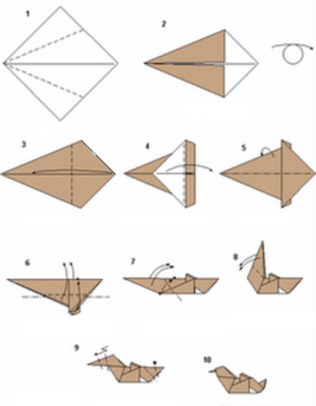 Step instructions how to make origami a duck Vector Image | 587x457